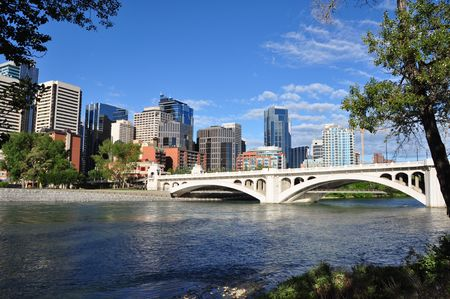 Calgary skyline with bow river in foreground photo