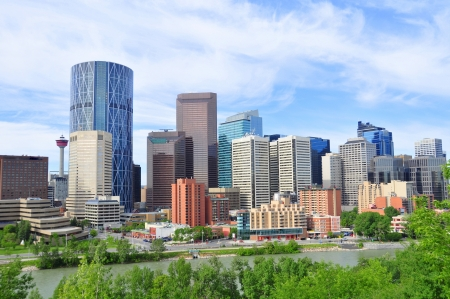 towering: Office towers towering over Calgary, Alberta