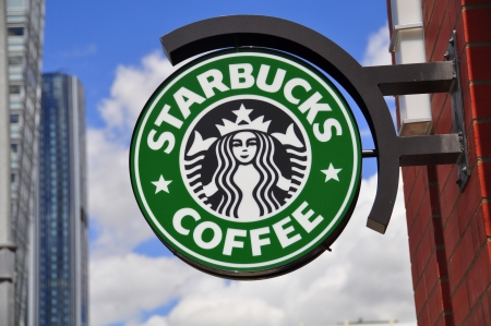 Starbucks logo in Calgary, Alberta Stock Photo - 14224377