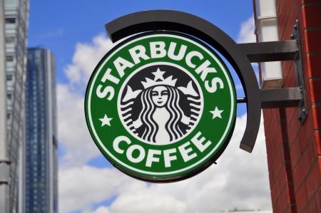 starbucks: Starbucks logo in Calgary, Alberta