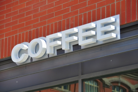 Coffee store signage in Calgary, Alberta Canada  Stock Photo