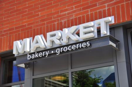 store: Market store signage in Calgary, Alberta Canada