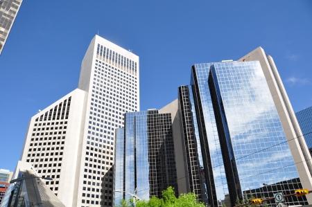 towering: Los rascacielos se elevan sobre Calgary, Alberta, Canad� Foto de archivo