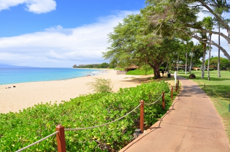 swells: Kaanapali beach boardwalk on the West Maui coast line