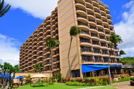 View of luxury hotel, Kaanapali, Maui, Hawaii