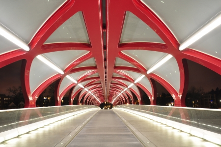 coulorful: A Calgary pedestrian bridge across with Bow River at night