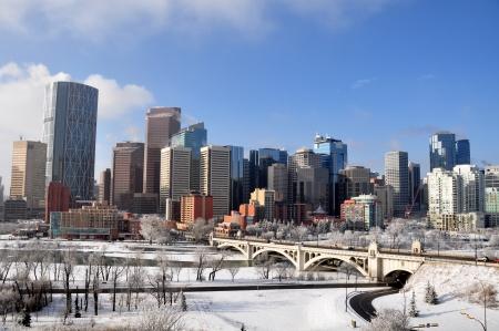 towering: Skyscrapers towering over Calgary Alberta Canada