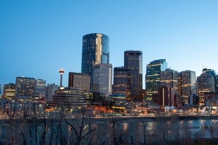 Calgary skyline at dusk, with Bow in foreground  photo