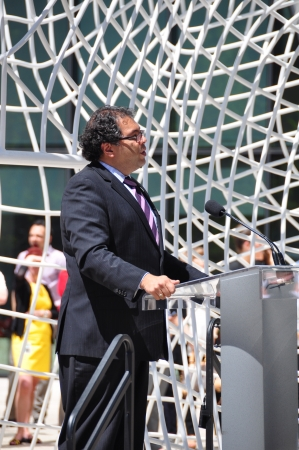 plensa: Calgary mayor Naheed Nenshi speaking at the opening of the Bow Tower and the dedication of the installation of the new art piece by Jaume Plensa at the Bow Tower in Calgary Alberta