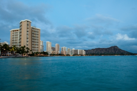 Famous Waikiki Beach on the Hawaiian island of Oahu at night  photo