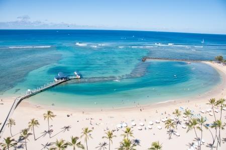 Famous Waikiki Beach on the Hawaiian island of Oahu