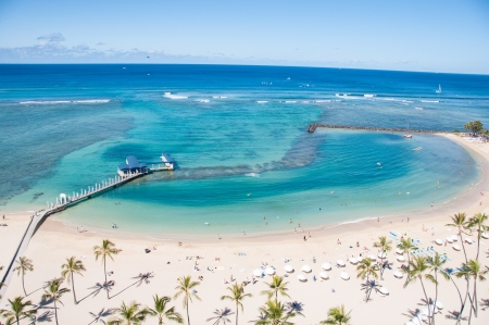 Famous Waikiki Beach on the Hawaiian island of Oahu