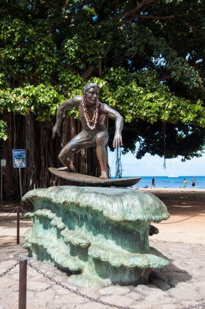Duke Kahanamoku Statue on Waikiki Beach, Honolulu. Duke famously popularized surfing and won gold medals for the USA in swimming.