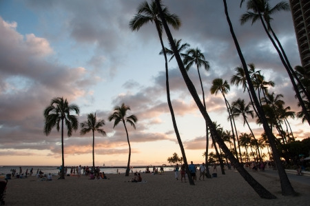 Famous Waikiki Beach on the Hawaiian island of Oahu at night.