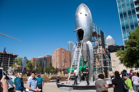 rocketship: CALGARY, CANADA - SEPT 11  Raygun Gothic Rocketship in Calgary on September 11, 2013 in Calgary, Alberta  The Raygun Gothic Rocketship is the main area for the Beakerhead arts and science festival