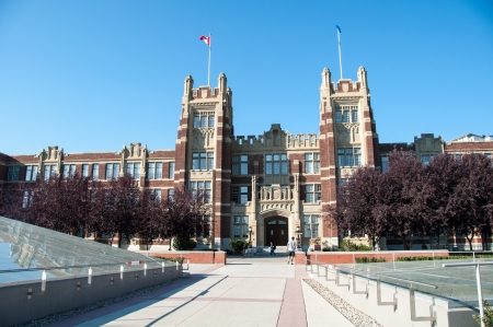 CALGARY, CANADA - SEPT 13  SAIT Polytechnic school buildings on September 13, 2013 in Calgary, Alberta  SAIT is a technology and trade school and this image shows a older campus building