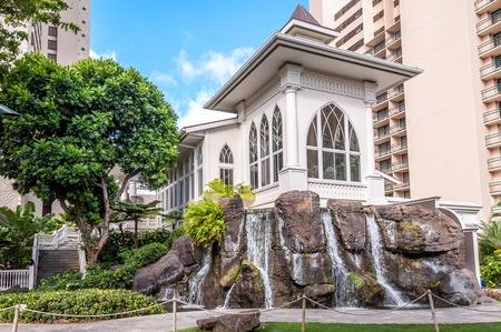 beach front: Wedding Chapel at Waikiki beach front hotel   Editorial