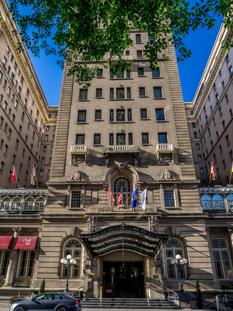 hotel chain: External facade of the landmark Fairmont Palliser Hotel on July 1, 2014 in Calgary, Alberta  The Fairmont Palliser Hotel is Calgary s oldest and most prestigious hotel   Editorial
