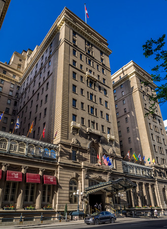 prestigious: External facade of the landmark Fairmont Palliser Hotel on July 1, 2014 in Calgary, Alberta  The Fairmont Palliser Hotel is Calgary s oldest and most prestigious hotel   Editorial