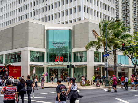 Entrance to the Waikiki Business Plaza on Kalakaua Avenue on April 25, 2014 in Waikiki, Hawaii  Kalakaua Avenue is the favorite shopping strip for tourists visiting Hawaii