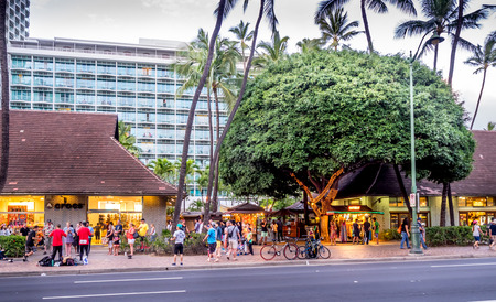 Retail outlets on Kalakaua Avenue on April 27, 2014 in Waikiki, Hawaii  Kalakaua Avenue is the favorite luxury shopping strip for tourists visiting Hawaii