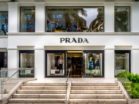 prada: Prada store on April 29, 2014 on Kalakaua Avenue in Waikiki, Hawaii  Kalakaua Avenue is the favorite luxury shopping strip for tourists visiting Hawaii