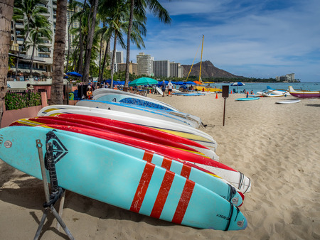 sun bathers: Surfboard rentals waiting for tourists on Waikiki beach on April 29, 2014 in Oahu  Waikiki beach is beachfront neighborhood of Honolulu, best known for white sand and surfing   Editorial