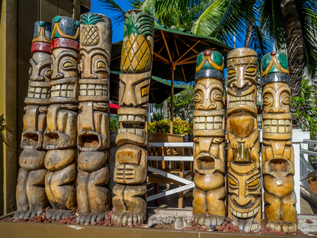 Tiki statues in hawaii