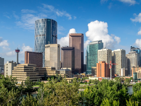 Skyscrapers towering over Calgary Alberta Canada. photo