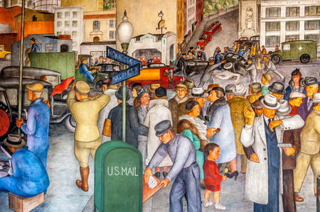 public works: The Coit Tower murals were carried out under the auspices of the Public Works of Art Project, the first of the New Deal federal employment programs for artists. Now famous spot for tourists in San Francisco.