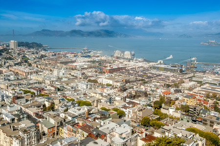 Birds eye view of San Francisco from Coit Tower photo