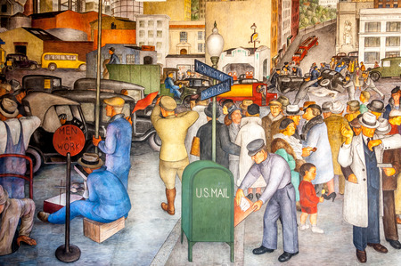 coit: The Coit Tower murals were carried out under the auspices of the Public Works of Art Project, the first of the New Deal federal employment programs for artists. Now famous spot for tourists in San Francisco.