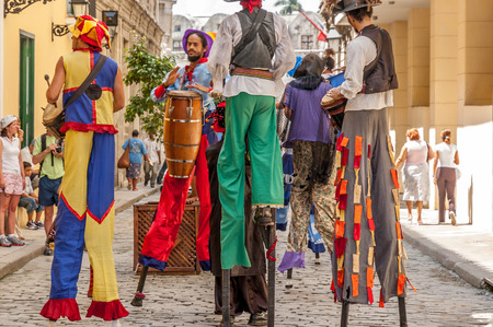 cuban culture: Unidentified street dancers June 30, 2005 in Havana.With Cuba receiving over two million tourists a year,artists representing the cuban culture are part of the atmosphere of Old Havana Editorial