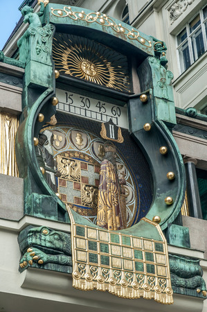 hayden: Famous clock in vienna built by franz matsch in 1912-1914 at hoher markt.