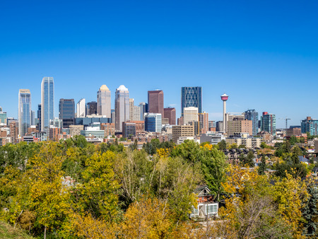 Calgary skyline from the south looking north. Fall foliage is in the foreground. photo