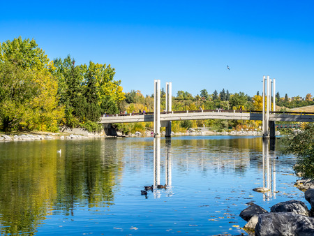 Bridge Crossing from Eau Claire to Princes Island Park Stock Photo