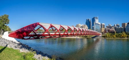 Panorama of the Peace Bridge on September 21, 2014 in Calgary, Alberta Canada. The pedestrian bridge spans the Bow River