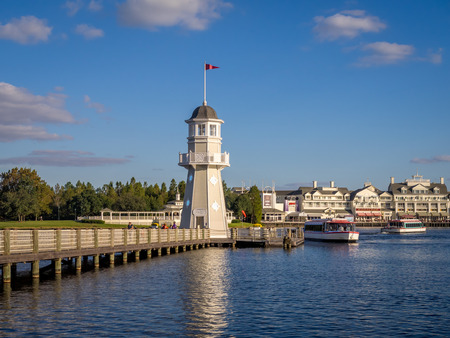 Lighthouse at the Disney Yacht Club Hotel at the Epcot Center, Disney World.