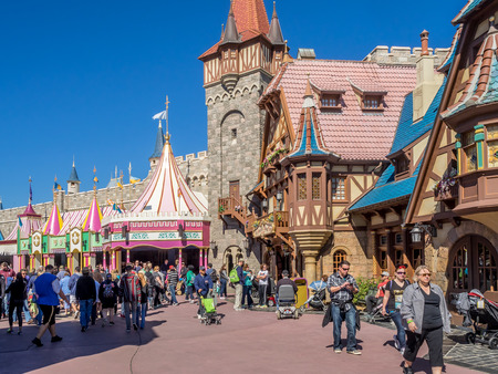 Fantasyland in the Magic Kingdom, Disney World park in Orlando, Florida. Magic Kingdom is the most visited theme park in the world. 免版税图像 - 34849701