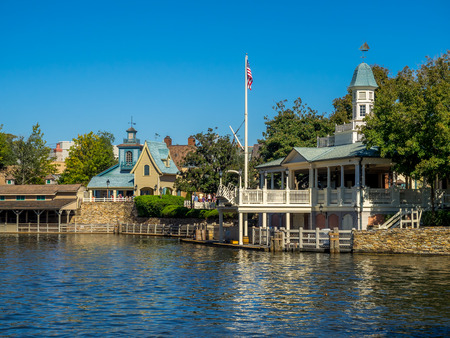 sawyer: Tom Sawyer Island and Buidings in Magic Kingdom in Orlando, Florida. Magic Kingdom is the most visited theme park in the world Editorial