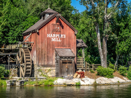 sawyer: Water Mill in Magic Kingdom in Orlando, Florida. Magic Kingdom is the most visited theme park in the world Editorial