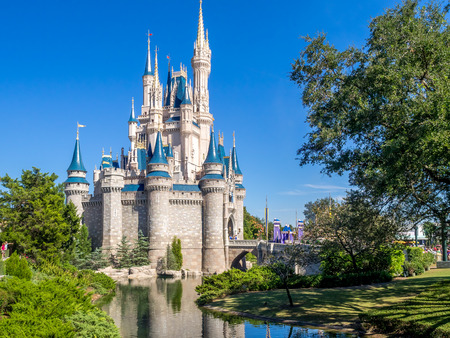 orlando: Cinderella Castle in the day in Orlando, Florida. Magic Kingdom is the most visited theme park