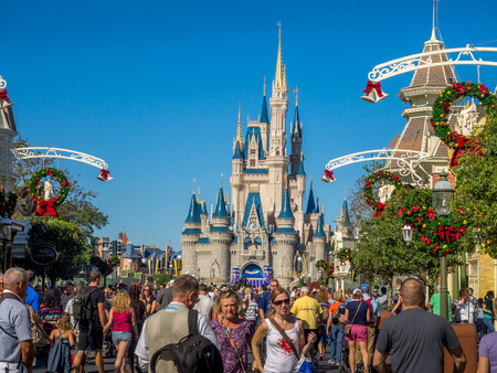 Cinderella Castle in the day in Orlando, Florida. Magic Kingdom is the most visited theme park