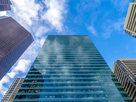 baker's: Looking up at skyscrapers in calgary alberta Canada.