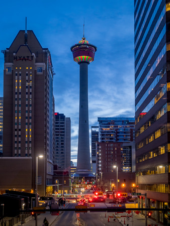 architectural feature: The Calgary Tower on December 22, 2014 in Calgary, Alberta Canada. The Calgary Tower is a landmark architectural feature in calgary, and has a rotating view platform. Editorial