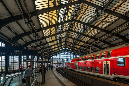Train departing from train station in Berlin. Editorial