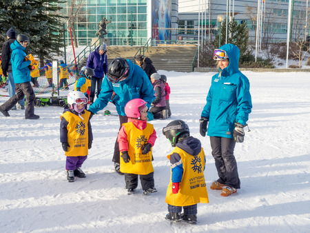 olympic: Kids learning to ski at Canada Olympic Park