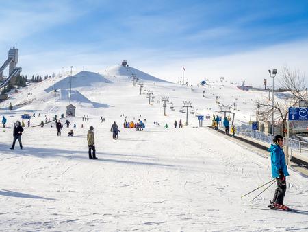 Skiën in Canada Olympic Park in Calgary Alberta. Redactioneel