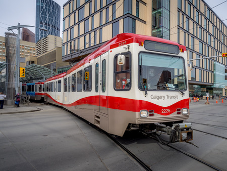 co2 emissions: C-Train in Calgary on March 25, 2015 in Calgary, Alberta. The C-train is Calgary\