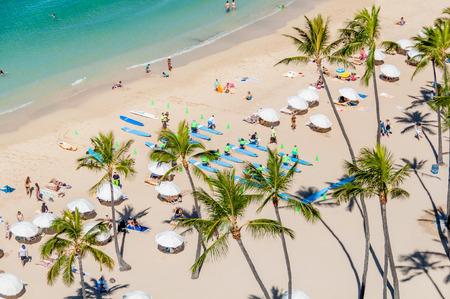 Famous Waikiki Beach on the Hawaiian island of Oahu.
